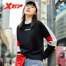 цена на Xtep Women Sports Hoodies Sweater Mix Color Fashion Women's Breathable Casual Round Neck Hoodies 881328059217