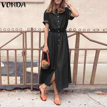 Elegant Short Sleeve Dress 2021 VONDA Women Holiday Party Long Sundress Casual Lapel Neck Denim Shirt Dress Vestidos Plus Size