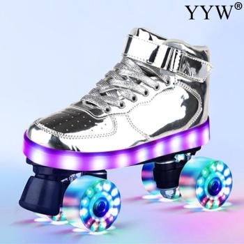 Flash Skates 4-Wheel Pu Roller Blade For Adult Kids USB Recharge Sneakers Roller Skates Hockey Double-Row Pulley Shoes Men Women 8pcs shower room bathroom glass door swing round pulley roller wheel circular shower wheel rolling wheel