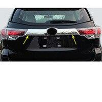 For Toyota Highlander 2018 2019 Car Styling Trunk Stick Detector Rear License Frame Plate Trim Strip Bumper Hoods 1pcs