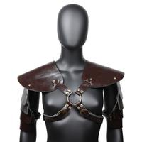 Unisex Brown PU Leather Vintage Armor Shawl Gothic Jacket Cool Rock Coat Steampunk Costume Accessories Halloween Props For Party