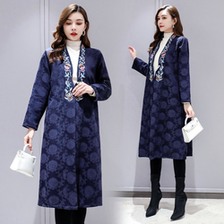 Womens Wear National Style LargeMiddle and Long Jacquard Cotton, Max and tassels Embroidered Womans Open Shirt Windshirt