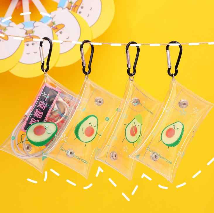 1 sztuk śliczne owoce awokado przezroczysty wodoodporny portmonetka portfel torba kieszonkowa brelok słuchawki torba papiernicze torby ołówek