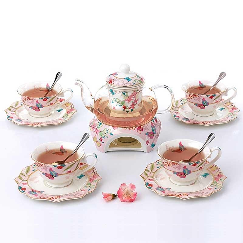 YeFine In Ceramica 15 PCS di Fiori di Tè Set Britannico Pomeriggio Insieme di Tè Nero Riscaldabile Teiera di Vetro Bone China Tazze da Tè E piattini