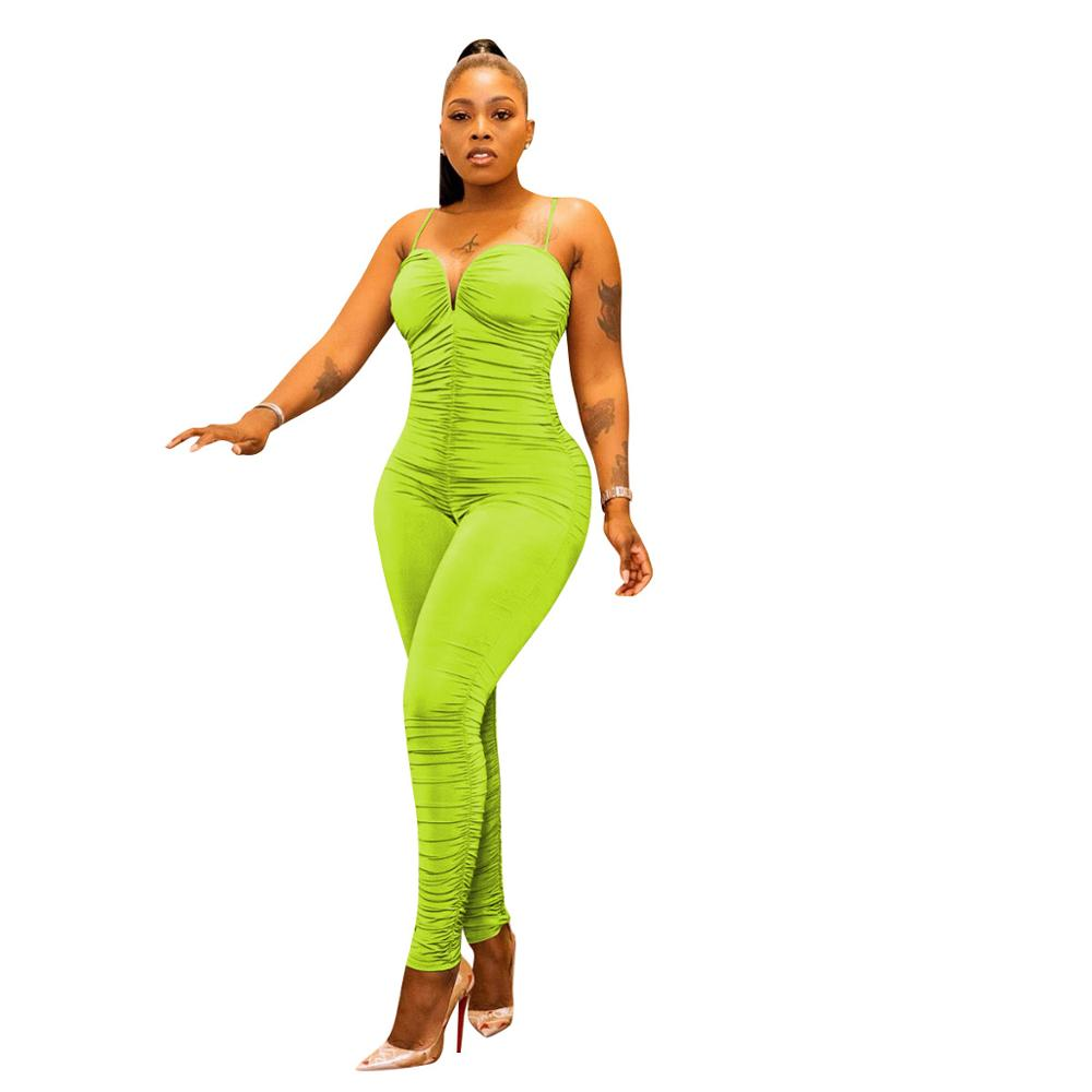Sexy V Neck Ruched Fitness Jumpsuit Women Summer 2020 Lounge Wear Strapless Stacked Leggings Bodycon Club Rompers Women Jumpsuit
