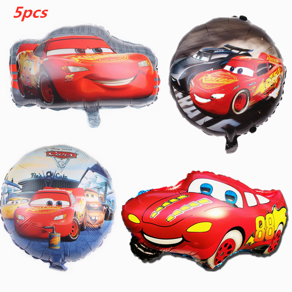 5pcs Disney Cars Lightning McQueen Theme 18 inch Aluminum Film Balloon Cartoon Birthday Party Decorations Baby Shower Supplies image