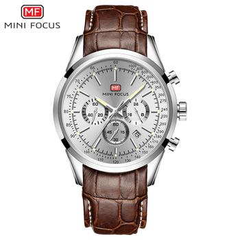 MINI FOCUS Watch For Men Quartz Military Watches Mens 2020 Auto Date Display Chronograph Casual Business Leather Strap Relogio