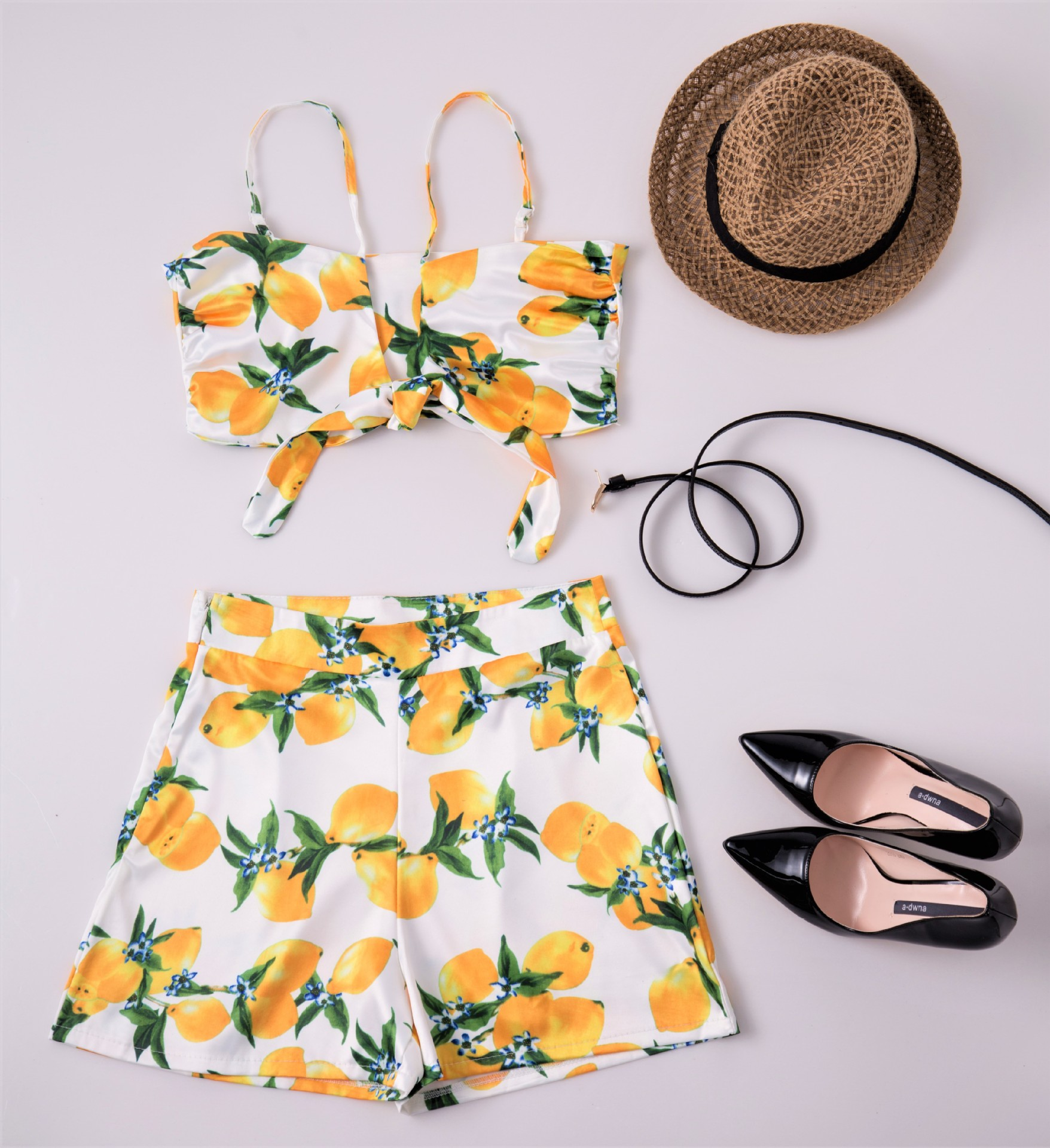 2019 Europe And America AliExpress Separate Station Hot Sales WOMEN'S Dress Sexy Bow Navel Shorts Set