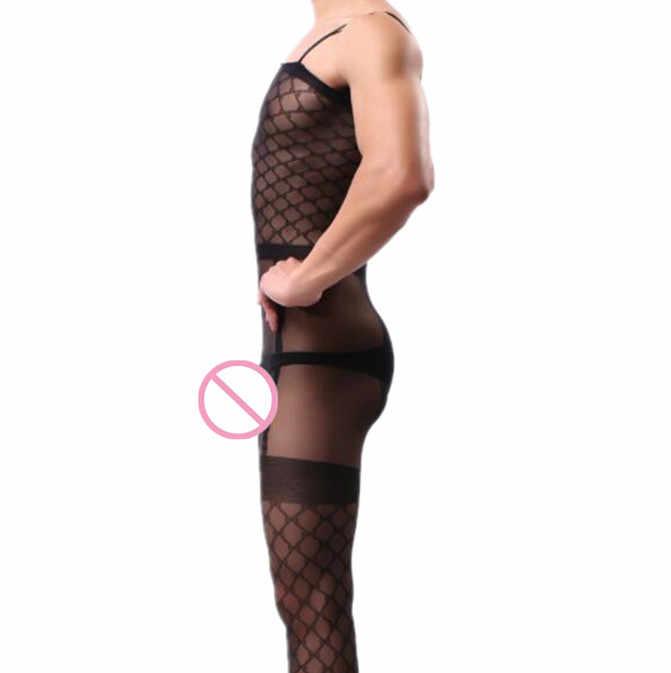 Sous-vêtements masculins Sexy combinaison mode hommes pyjama tartan Sexy Lingerie hommes body mari cadeau fronde nuit livraison directe