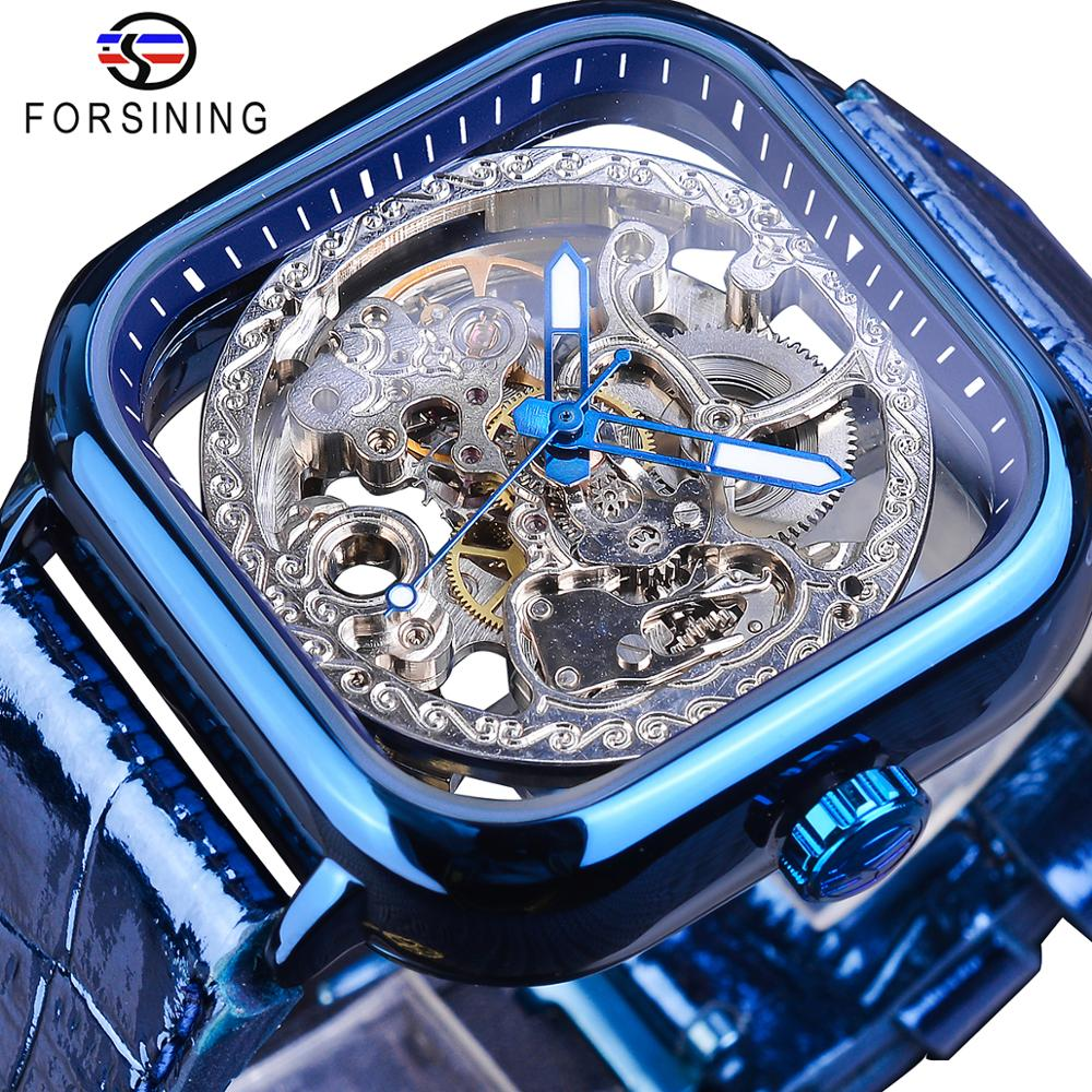 Forsining Classic Business Design Blue Leather Mens Automatic Luminous Hand Transparent Mechanical Skeleton Watches Brand Luxury