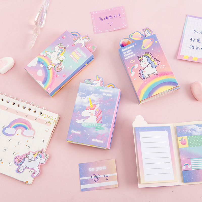 Cute Cartoon Unicorn Party Memo Pad 6 Folding N Times Sticky Paper Notes Memo Notepad Bookmark Writing Pads Gift Stationery