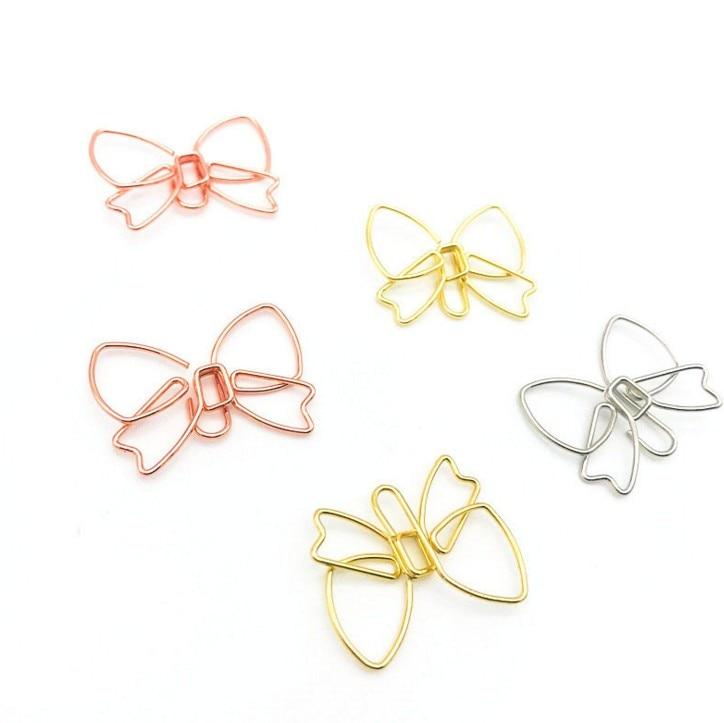 10 Pcs Cute Paperclip Book Mark Bow Clip DIY Accessories Bookmark Bookend Clip Metal Paper Clip Paper Clips