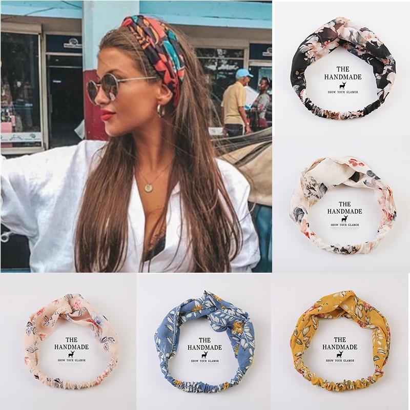 2020 Women Girls Summer Boho Hair Bands Print Headbands Vintage Cross Turban Bandage Bandanas HairBands Hair Accessories Gift