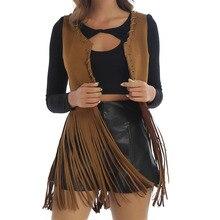 Women Vintage 70s Hippie Clothes Faux Suede Sleeveless Open-Front Jacket Cardigan Female Bohemian Brown Long Tassels Fringe Vest