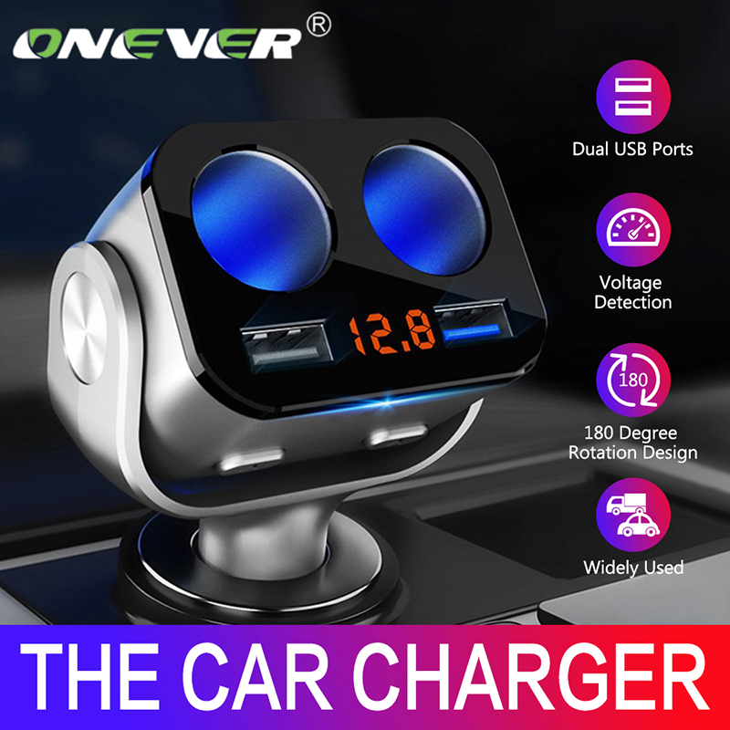 Onever Car Cigarette Lighter Socket Splitter Charger USB Charger Cigarette Lighter Sockets Power Interior Parts