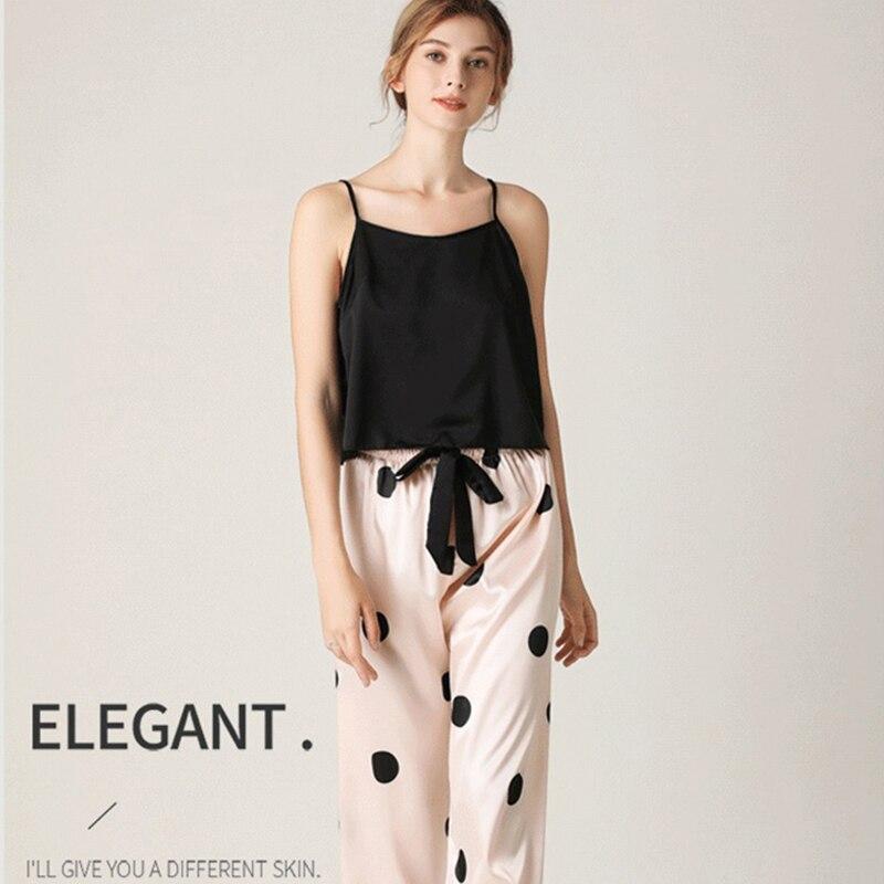 JULY'S SONG Pajamas Sets Sexy Lace Pyjamas Female Faux Silk Polka Dot Nightwear Ladies Stripe Sling Elastic Waist Homewear