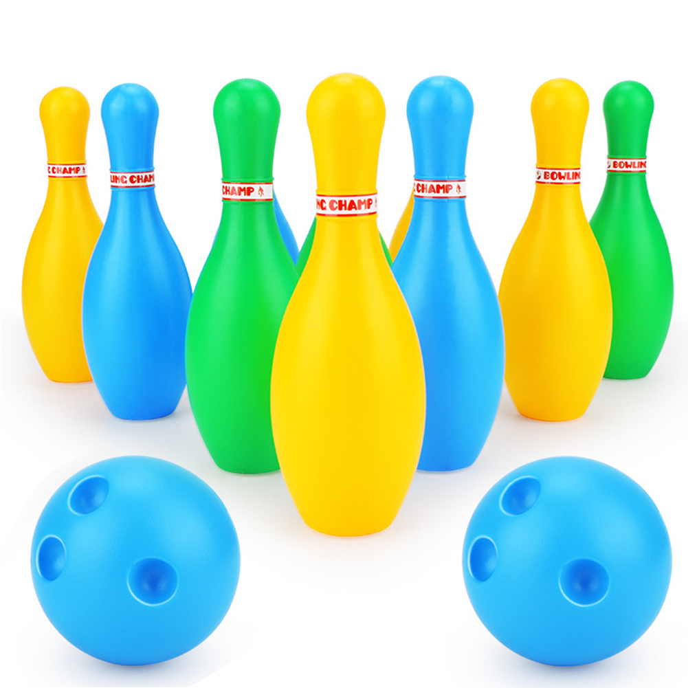 12pcs Gifts Sport Toy Pins Balls Toddler Kids Indoor Outdoor Family Games Parent Child Home ABS Bowling Set Educational Colorful