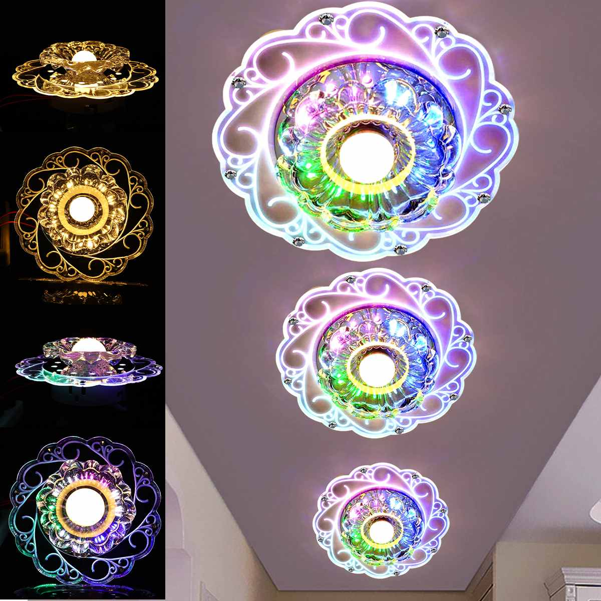 3W/5W 85-265V Modern LED Crystal Ceiling Light Circular Mini Ceiling Lamp Rotunda Light For Living Room Aisle Corridor Kitchen