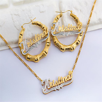 Nameplate Earring Set Gold Silver Bamboo Earring Name Jewelry Personalized Jewelry Name Hoop Earrings Nameplate Necklaces Set