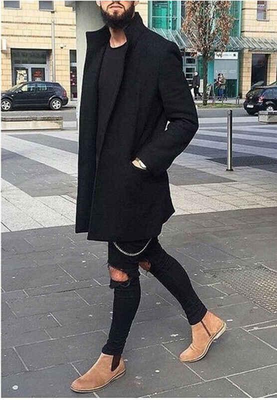 2019 秋冬メンズカジュアルコート厚みのウールトレンチ古典オーバーコートミディアムロングジャケットトレンチコートビジネス男性固体