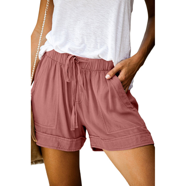 12 Colors Casual Women Short Pants Simple Drawstring Pockets Summer Elastic Waist Loose Home Fashion Streetwear Ladies Pant 5
