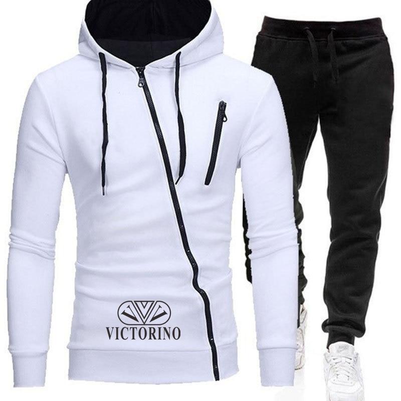 Zippper Sportswear Tracksuit Sets Men Thick Fleece Thermal Underwear Hoodie + Pants Malechandal Sports Suit 2020 New Brand
