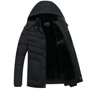 Image 2 - Parka Men Coats 2020 겨울 자켓 남성 두건 후드 방수 아웃웨어 웜 코트 아버지 의류 캐주얼 남성 오버 코트