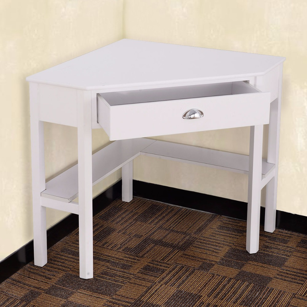 COSTWAY Corner Computer Desk Laptop Writing Table Wood Modern Home Office Furniture With Drawer And Shelf HW53866