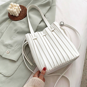 Drawstring Open Design Bucket Crossbody bags For Women 2020 Solid Color Pleated Shoulder Handbags Travel Cross body bag Purse casual straw and solid color design shoulder bag for women