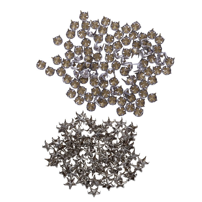 100Pcs 7Mm Star Studs Spots Punk Rock Nailheads Spikes For Bag Shoes Bracelet & 100Pcs 7 Mm Metal Rhinestone Studded Silver Stud