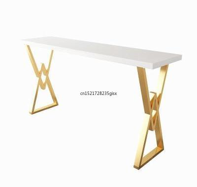 Nordic Light Luxury Solid Wood Bar Table Net Red Iron Art Home Milk Tea Bar Marble Dining Table Chair High Foot Long Table
