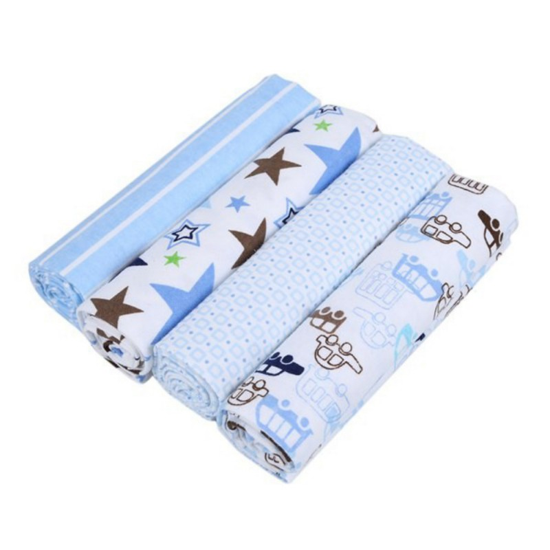 4PCS Newborn Baby Bed Sheet Bedding Set 102*76cm For Newborn Crib Sheets Cot Linen 100% Cotton Printing Baby Blanket