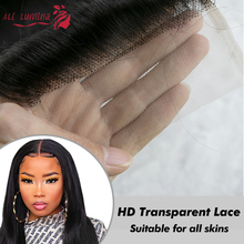HD Transparent 4x4 Lace Closure Long Straight Brazilian Remy Hair Pre Plucked With Baby Hair 100% Human Hair HD Lace Closure
