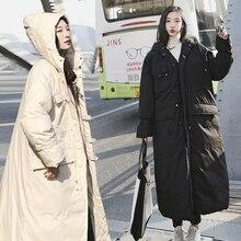 Kurtka zimowa damska ponadgabarytowy płaszcz z kapturem z kapturem Maxi długi Plus rozmiar damski ciepły 2019 jesień odzież damska odzież wierzchnia dół XL 65