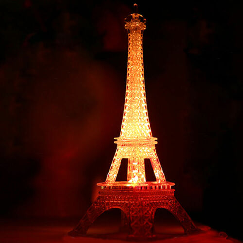 Romantic Eiffel Tower Color Changing LED Night Light Bedroom Home Decoration Eiffel Tower Souvenir Eiffel Tower Statue