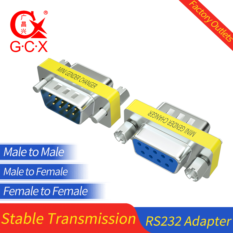 2x 9 Pin D-SUB DB9 RS-232 Serial Female Mini Gender Changer Coupler Gold Plated