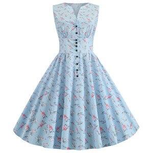 Sleeveless Summer Dresses Women Floral Print Retro Vintage Dress V-neck Rockabilly Buttons Vestidos Knee Length 2020 Robe Femme