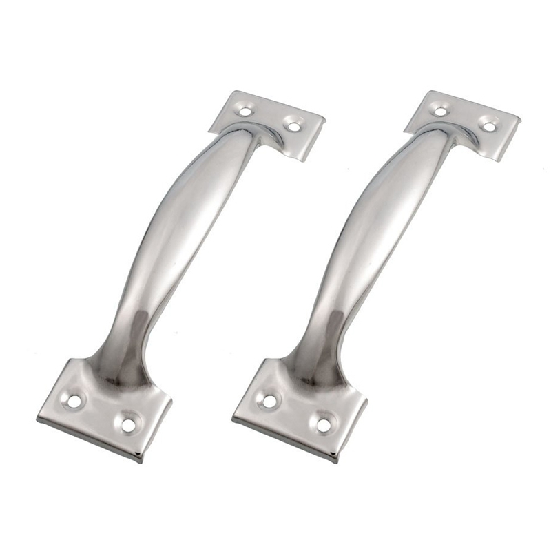 2 X Silver Tone Stainless Steel Pull Handles Grips 6