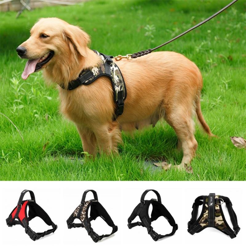 Adjustable Nylon Heavy Duty Dog Pet Harness Collar Padded Extra Big Large Medium Small Dog Harnesses vest Husky Dogs Supplies