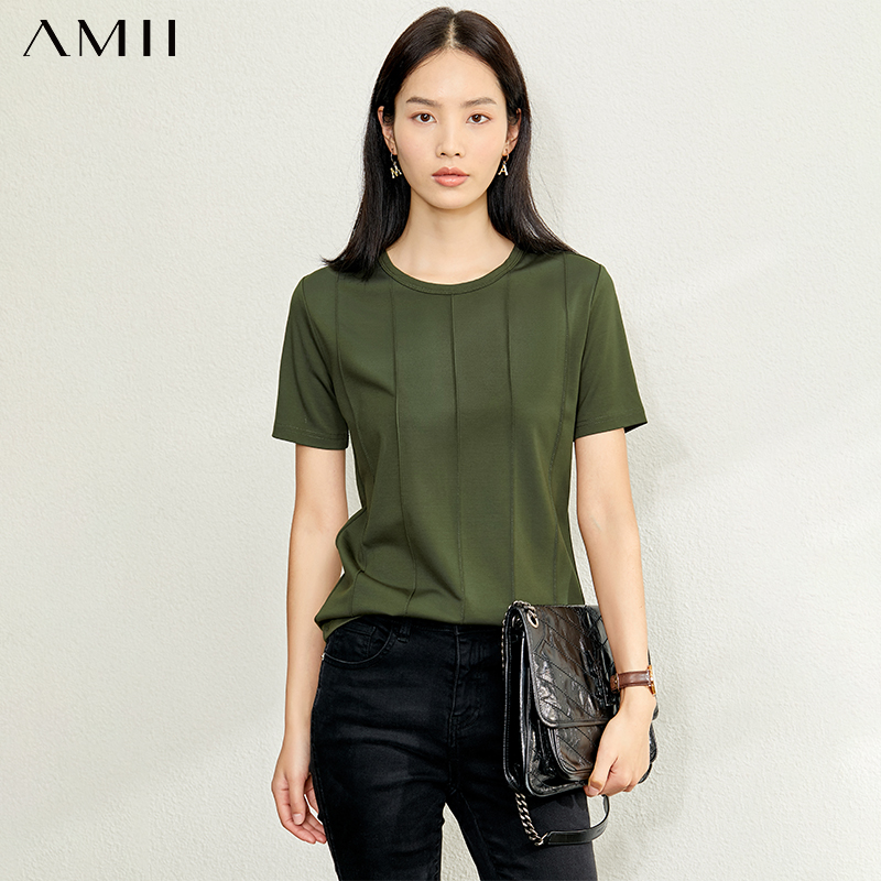 AMII Minimalism Spring Summer Solid Basic Stripe Women Tshirt Causal Fashion Oneck Loose Female TShirt Tops 12060034