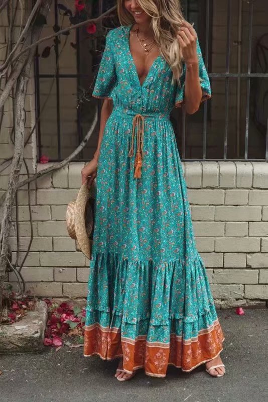 Europe And America 2019 Summer New Style Bohemian Holiday Three-Color Tassels Lace-up Big Hemline Dress K7-m130
