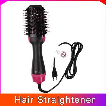2 IN 1 One Step Hair Dryer Hot Air Brush Hair Straightener Curler Comb Curling Brush Hair Styling Tools image