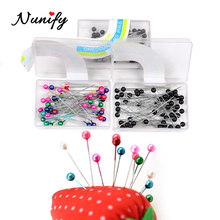 Nunify Stainless Steel Dressmaker Pins Colorful Ball Heads Needles Easy Jewelry Making Tools Beading Pins For Wig Diy(China)