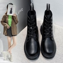 Boots Women White Ankle Motorcycle Boots Female Autumn Winter Shoes Punk Top layer cowhide round toe lace-up short Martin boots