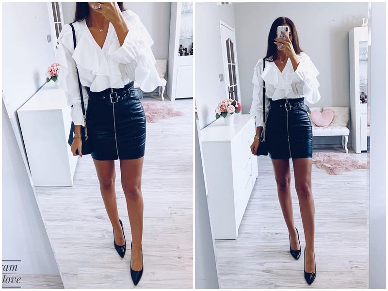 Affogatoo High waist pu leather skirts women Sash zipper pencil mini skirt 18 Autumn streetwear winter black skirts short 4