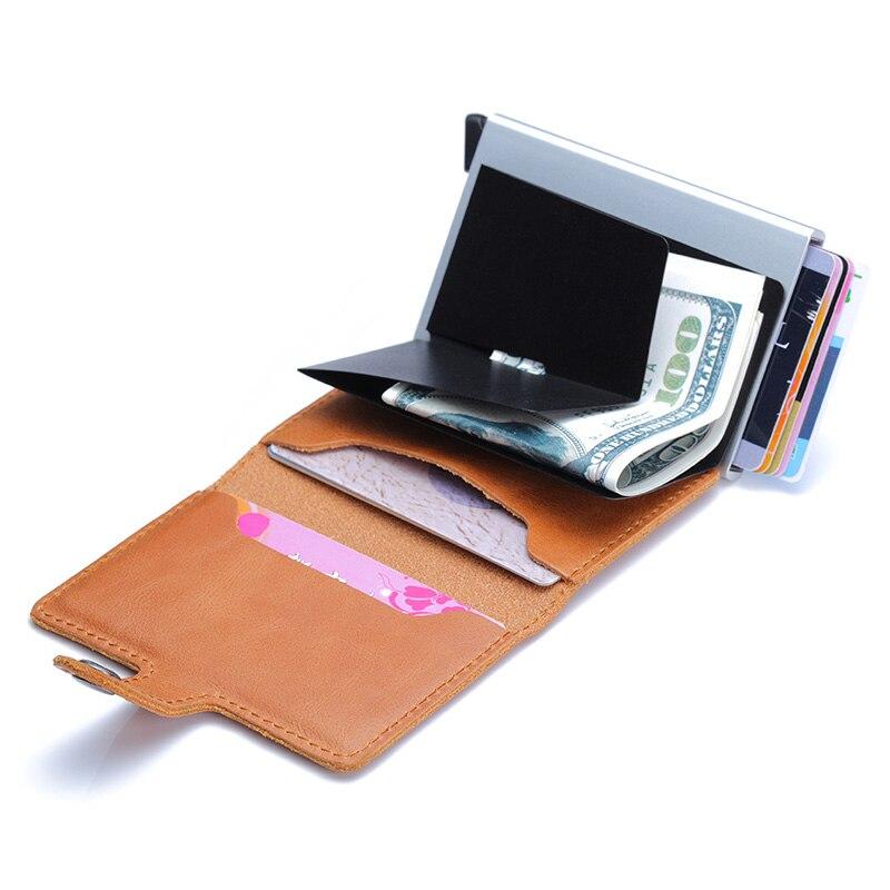 Image 2 - עור אמיתי גברים אשראי כרטיס בעל וו RFID חסימת ארנק מזהה כרטיס מחזיק בנק עסקי ארנקים ארנק לנשים כרטיסיםמחזיקי כרטיסים ותעודת זהות   -