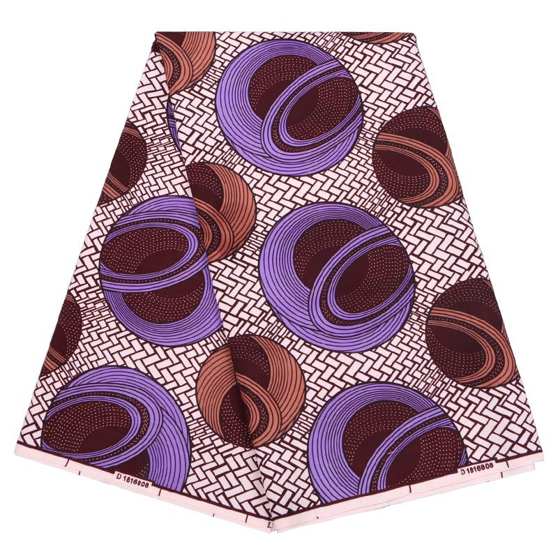 2019 Latest Arrivals Fashion New African Real Guaranteed Dutch Wax Veritable Purple&Brown Printed Fabric 6Yards\lot