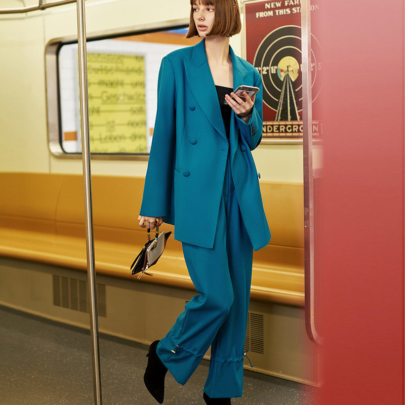 AEL British Style Autumn Winter Women Pant Suit Bluey-green Blazer Jacket & Retro Wide Leg Pants 2019 Office Women Suits Sets