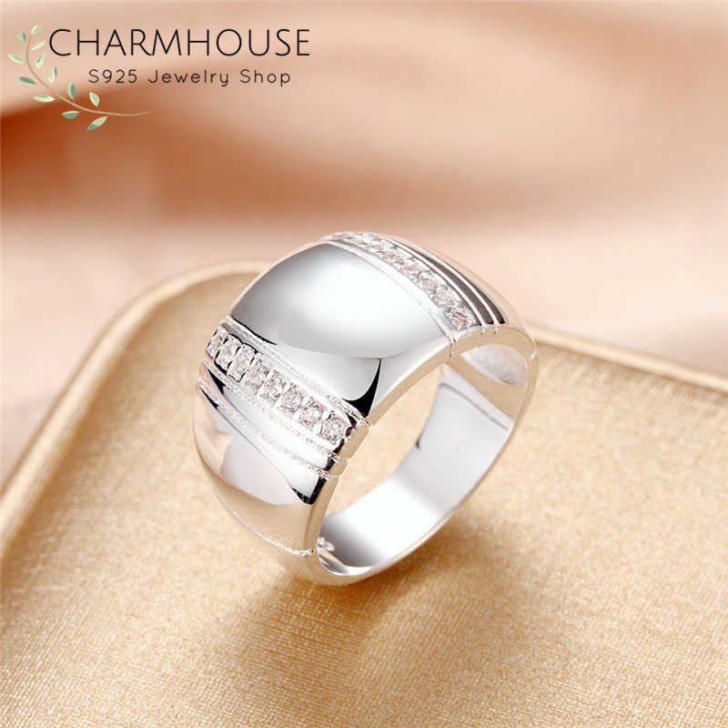 Pure 925 Silver Rings For Women Wedding Band Wide Ring with Zirconia Bague Anillo Engagement Jewelry Accessories Size 7 8