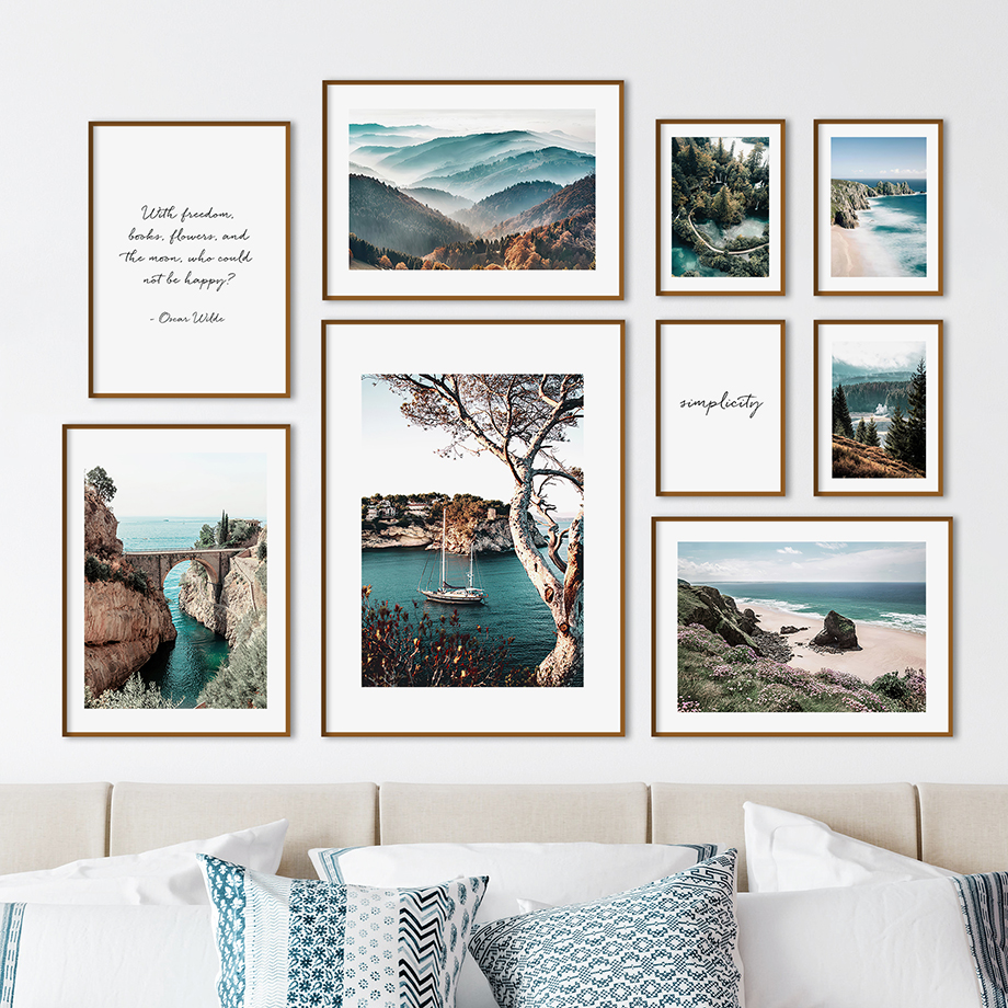 Bridge Sea Mountain Beach Forest Ferry Wall Art Canvas Painting Nordic Posters And Prints Wall Pictures For Living Room Decor